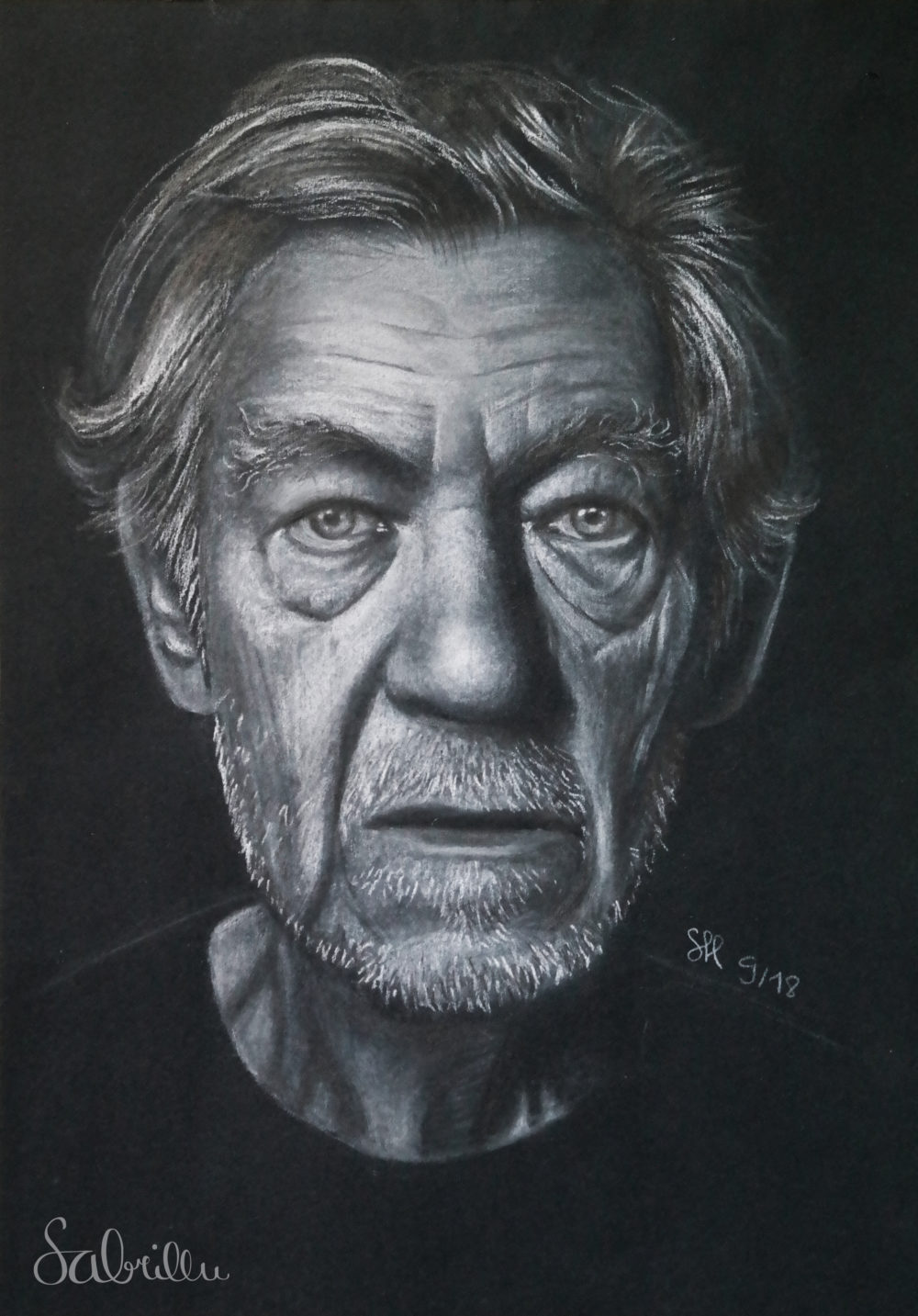 Portrait of Ian McKellen - made with charcoal and chalk