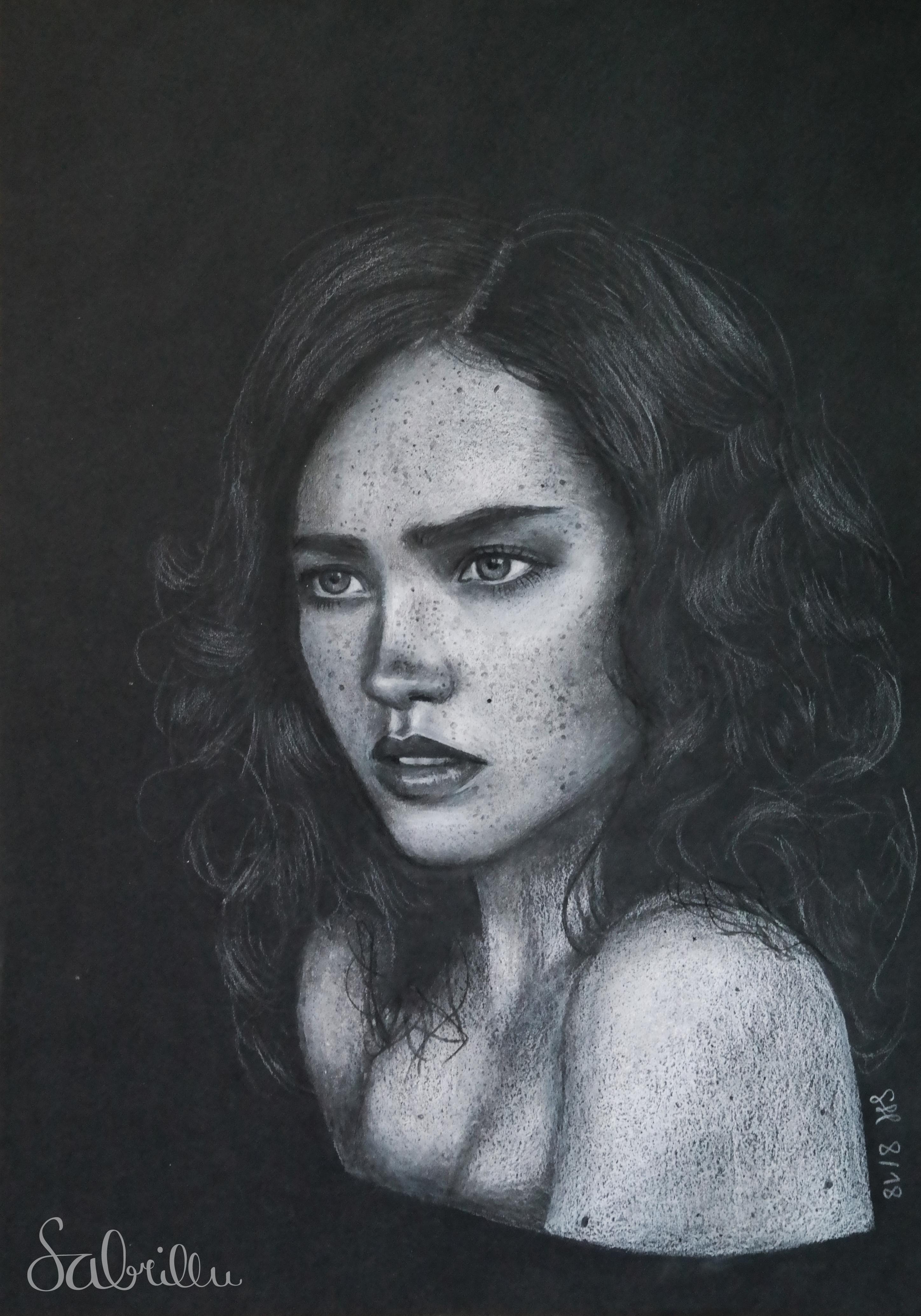 chalk drawing on black paper by Sabrillu