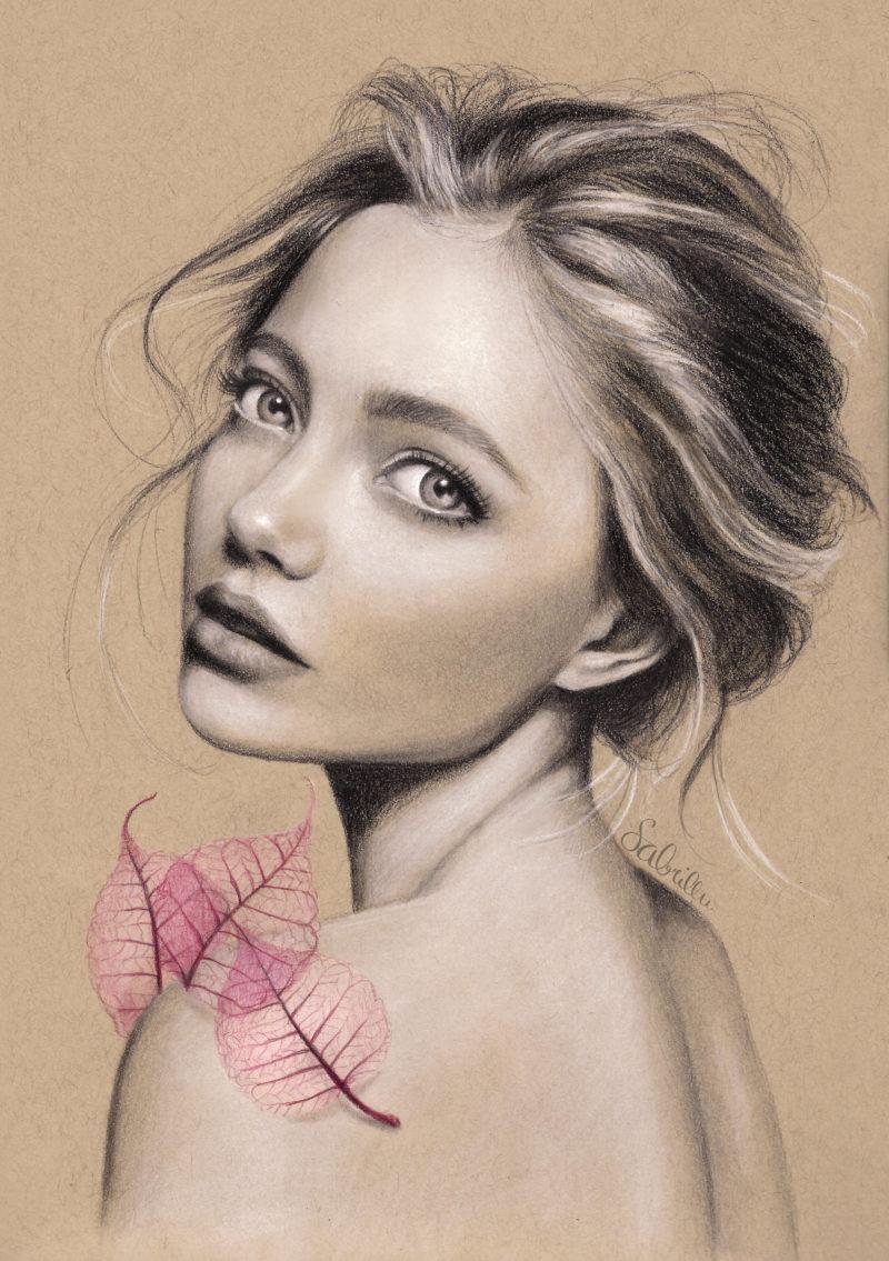 Zeichnung eines Mädchens mit Bleistiften und Pastellkreiden