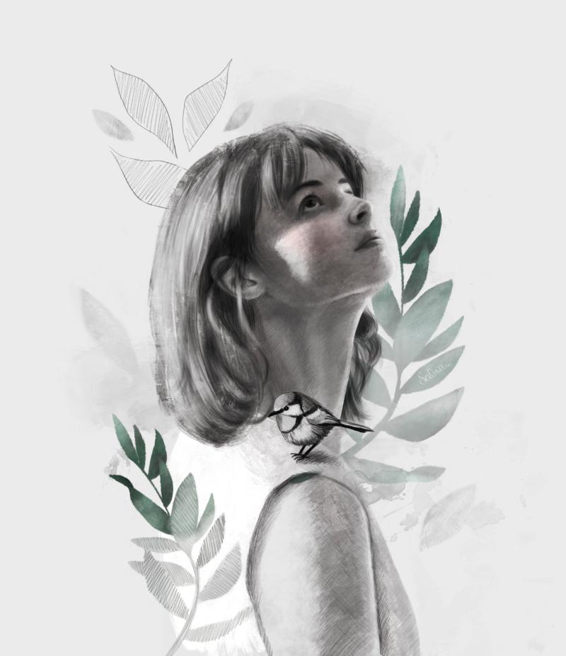 Portrait of a girl with a bird on her shoulder - digital drawing - Sabrillu