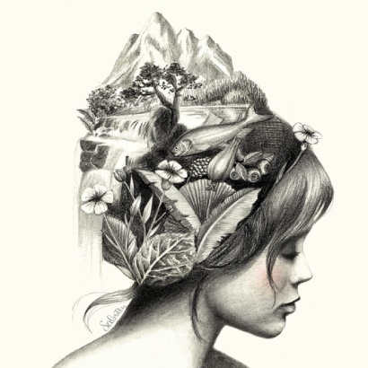 Pencil drawing of a beautiful woman with nature elements