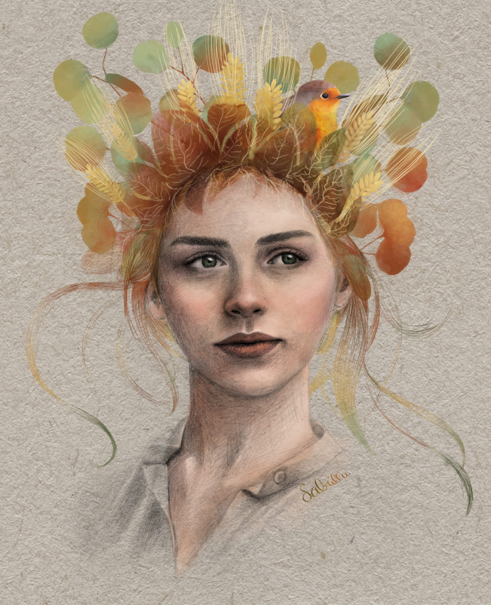 Digital - mixed media art portrait with bird and leaves