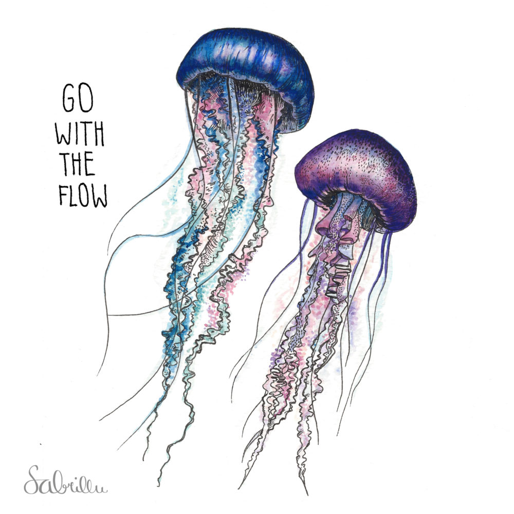 jellyfish illustration with ink and watercolours