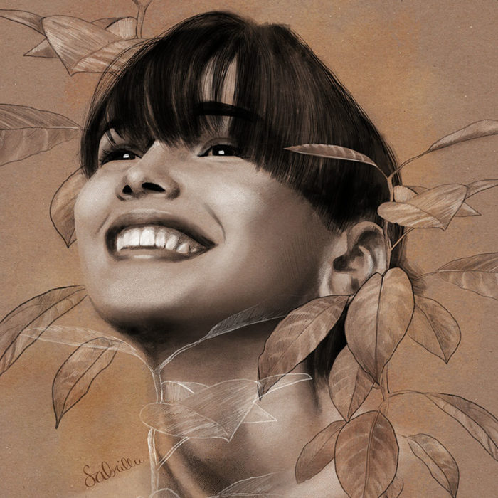 digital portrait drawing with botanical elements