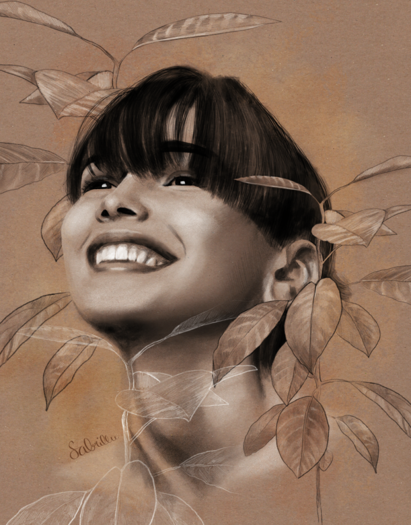 digitale Portraitzeichnung mit botanischen Elementen
