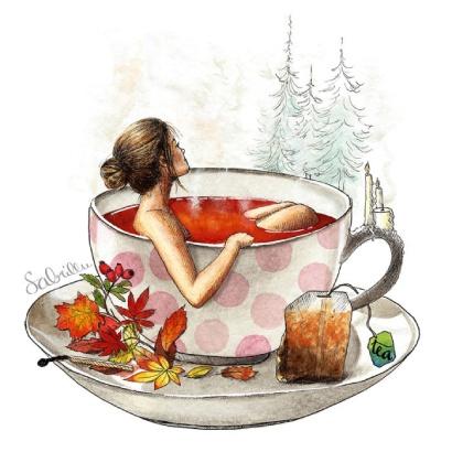 Aquarell-Illustration zum Thema Herbst Entspannung