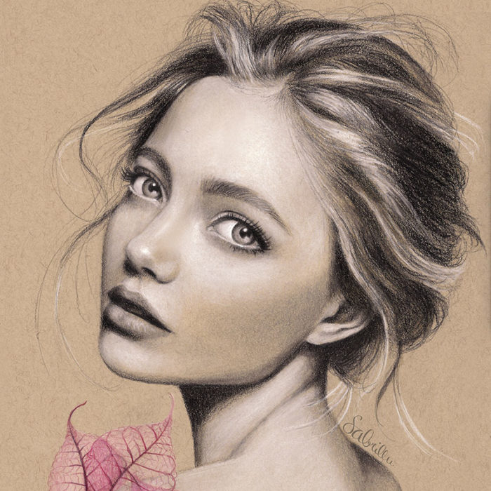 pastel portrait drawing of a beautiful girl