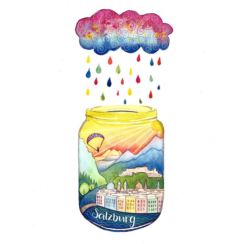 Salzburg Illustration Aquarell - Sabrina Hassler - Sabrillu