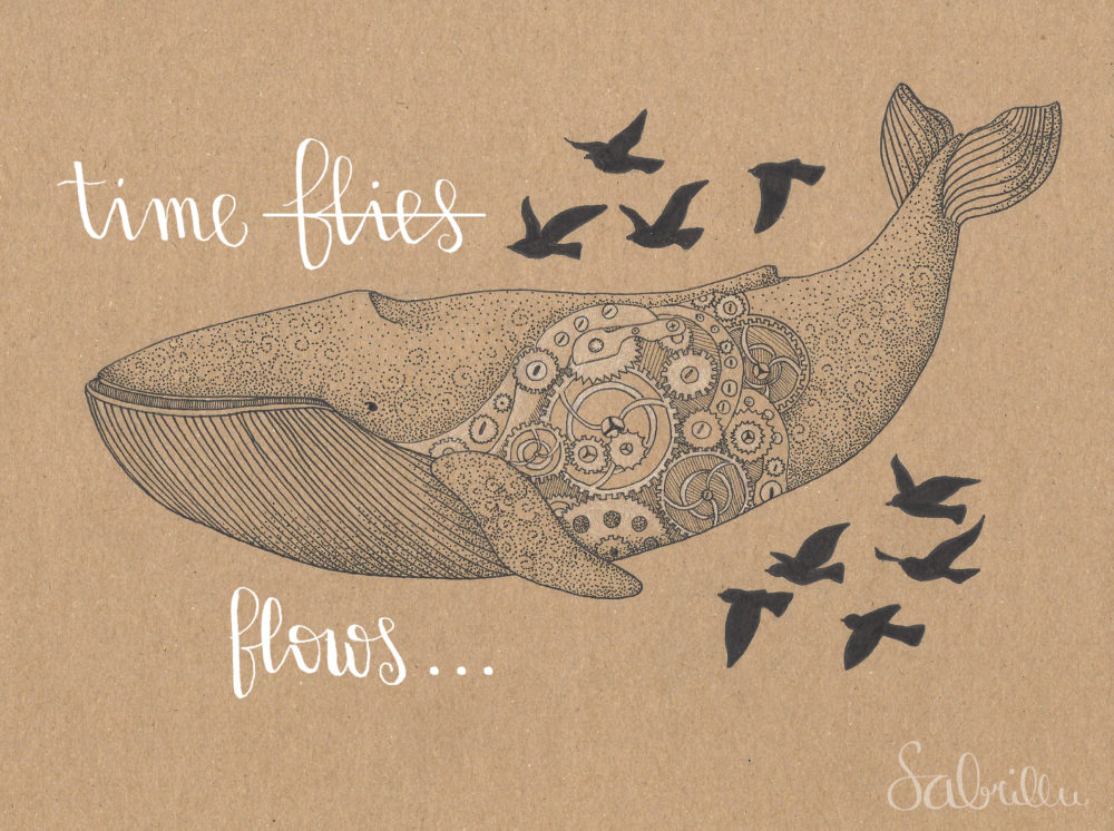 Whale illustration with ink on brown paper