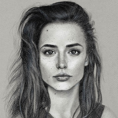 charcoal chalk portrait on toned grey paper - Weronika - Sabrina Hassler Illustration