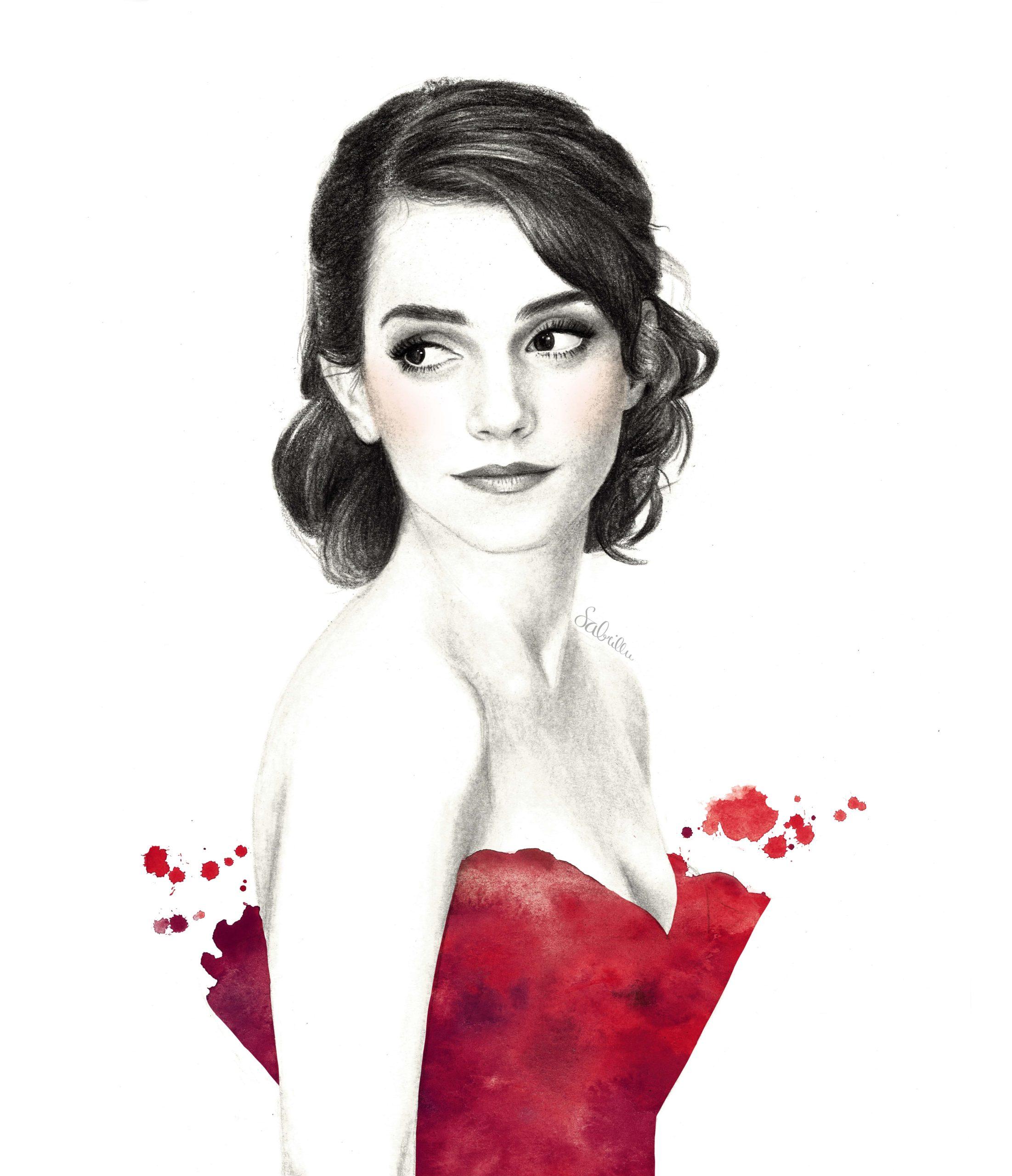 Portrait von Emma Watson, Bleistift und Aquarell
