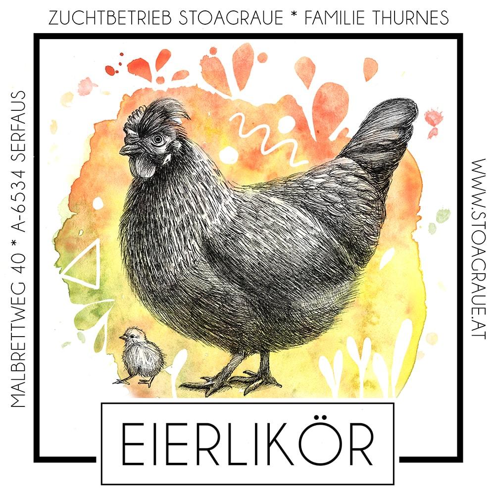 Etikett für Eierlikör, Label - by Sabrina Hassler Illustration