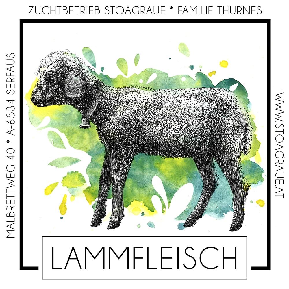 Kreatives Etikett für Lammfleisch vom Bauernhof - Sabrina Hassler Illustration