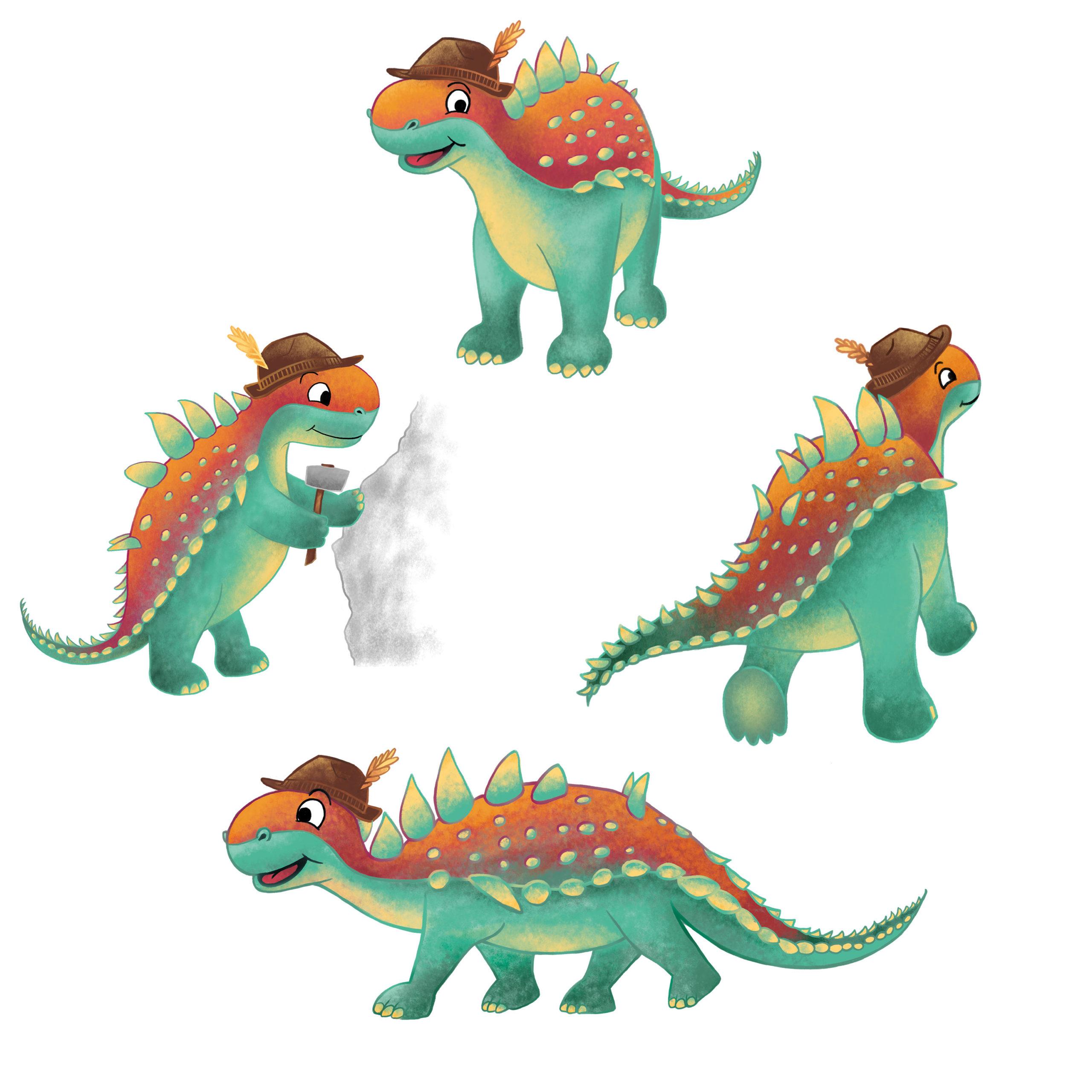 digitale Dino-Illustrationen