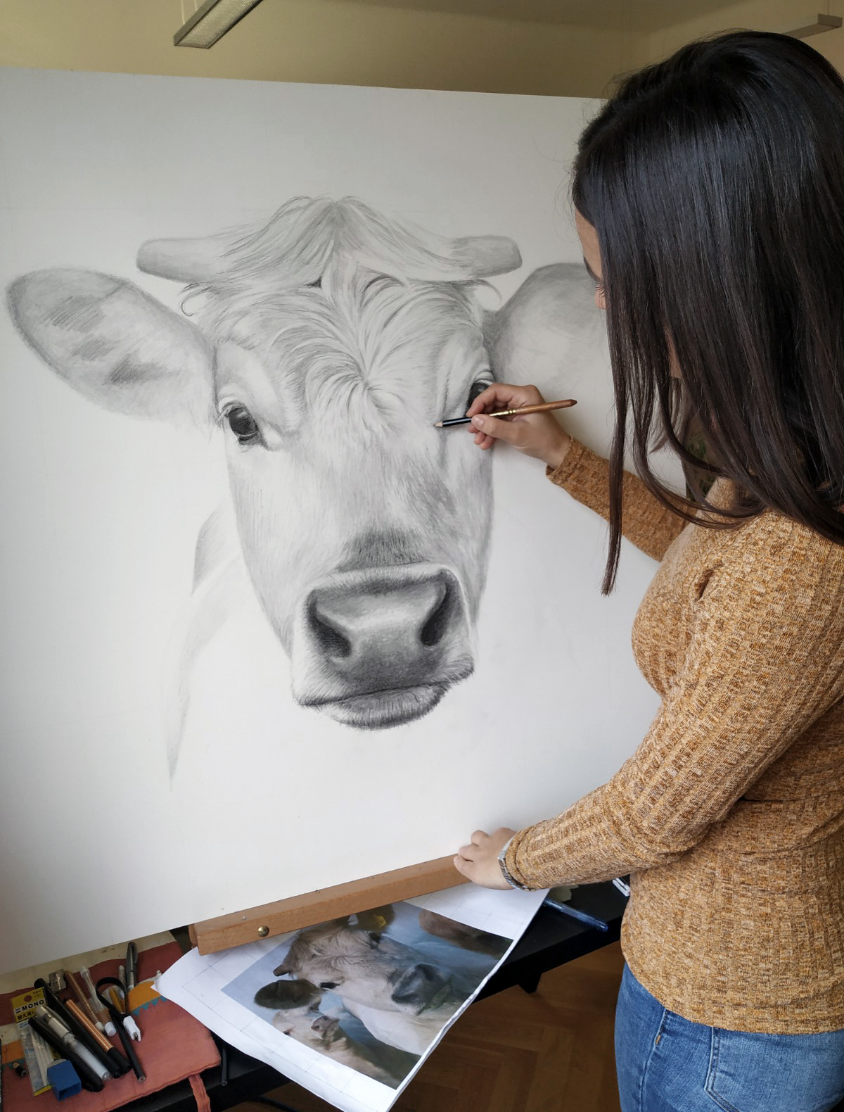 Kuh-Zeichnung mit Bleistift
