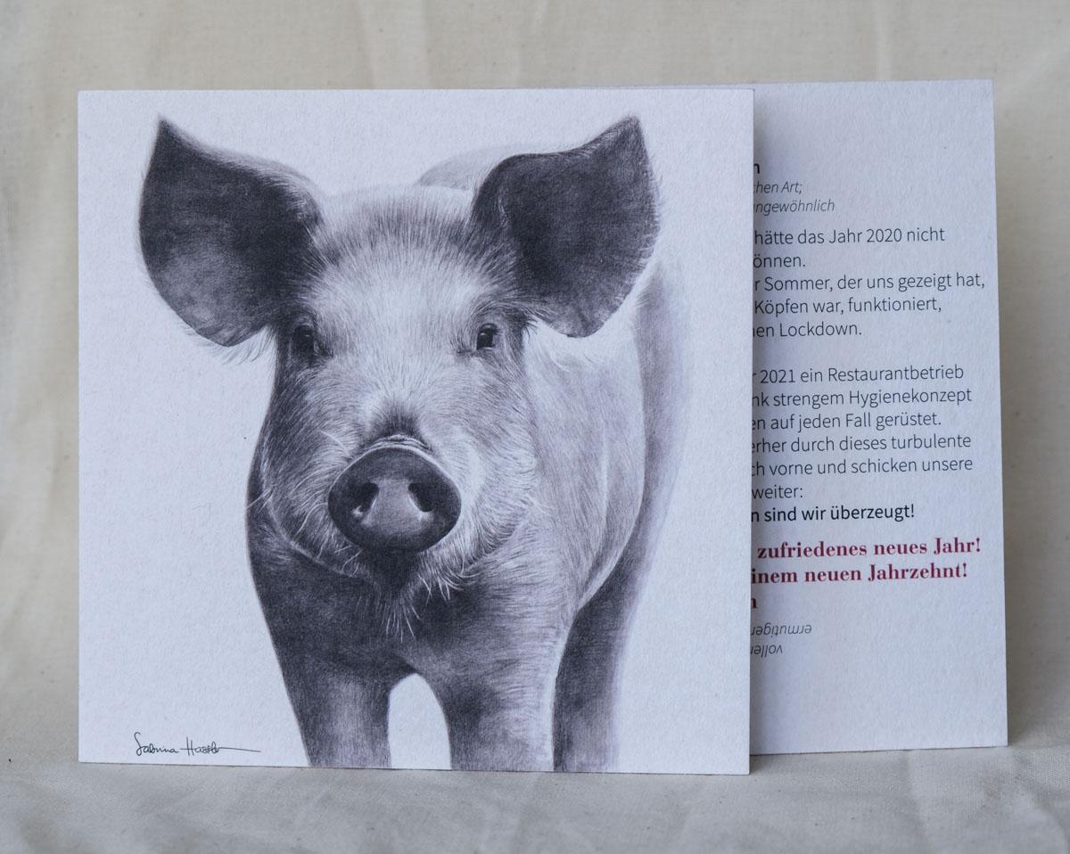Neujahrs-Grußkarten Schwein | Tierzeichnung mit Bleistift