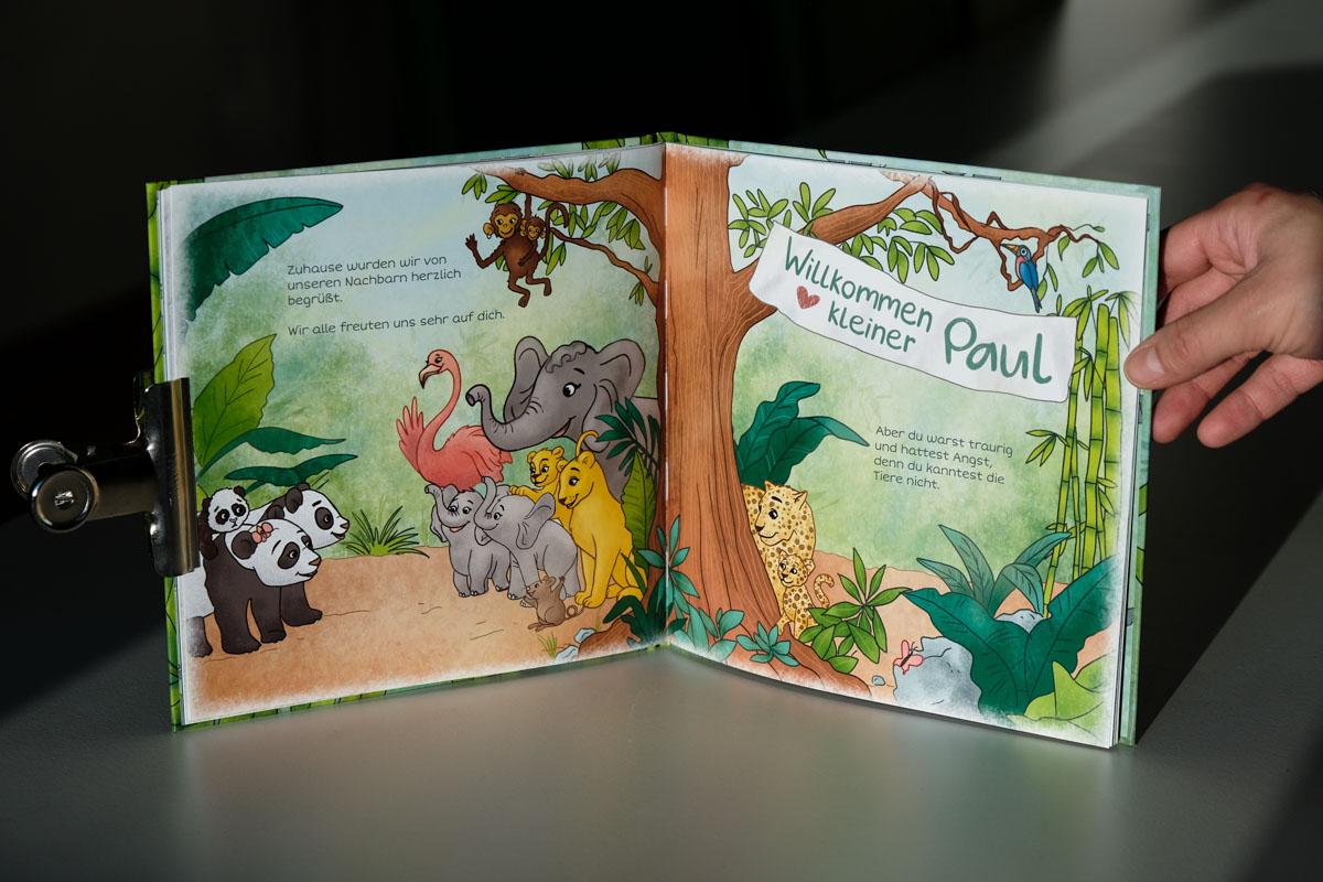Dschungel Tiere Kinderbuch-Illustration, Paul der Panda