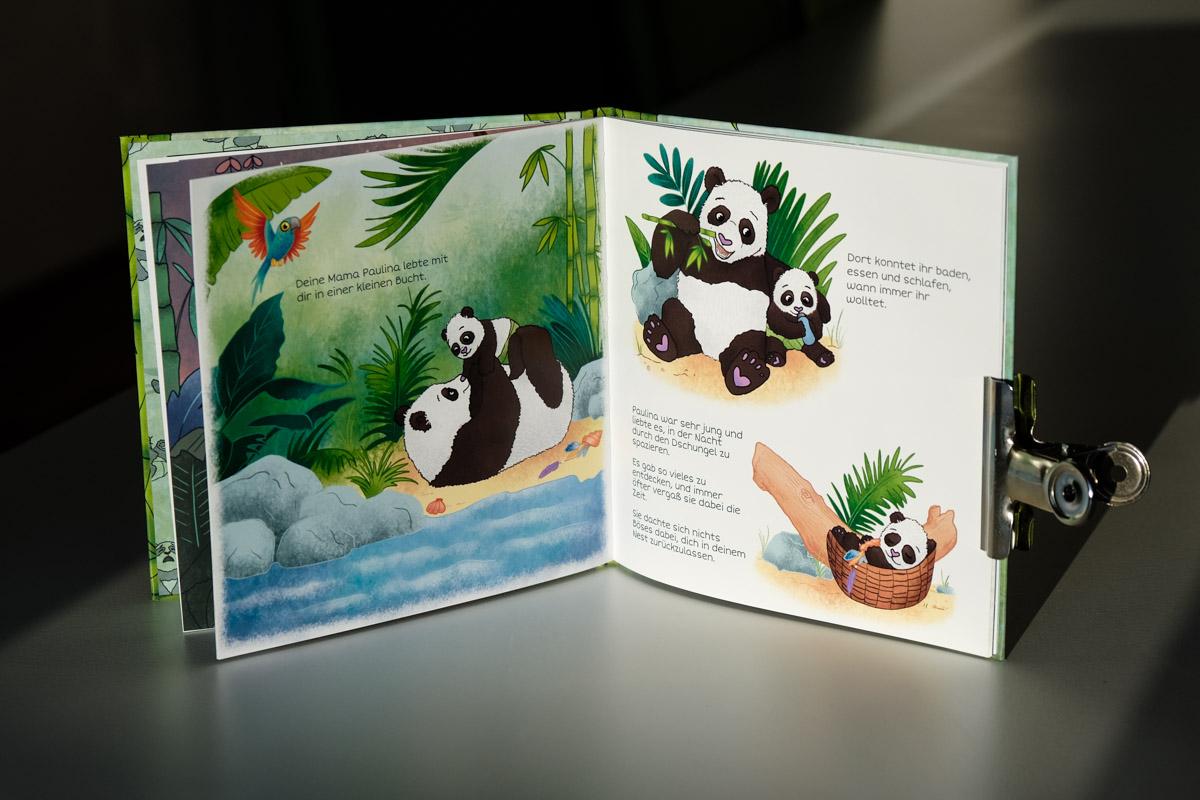 Panda-Mama mit Baby Illustration