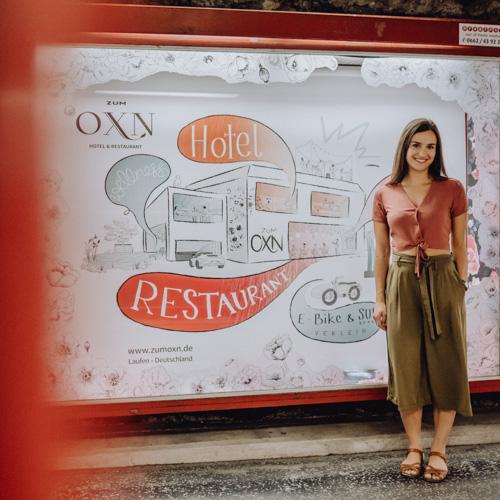Werbe-Illustration Hotel zumOXN Salzburg | Sabrina Hassler Illustration